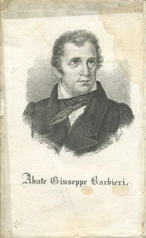 Abate Giuseppe Barbieri, da Opere scelte dell'Abate Giuseppe Barbieri di Bassano, Per Giovanni Silvestri, Milano 1827, foto dell'originale